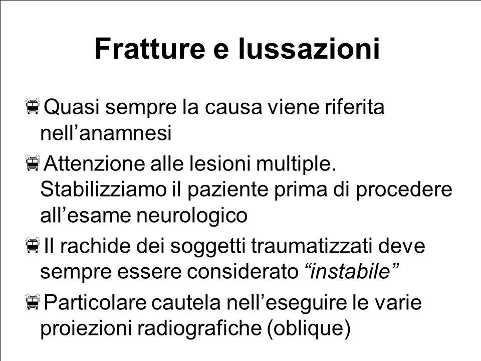 Fratture e lussazioni Quasi sempre la causa viene riferita nellanamnesi Attenzione alle lesioni multiple.