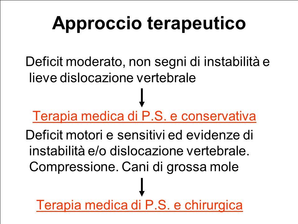 Approccio terapeutico Deficit moderato, non segni di instabilità e lieve dislocazione vertebrale Terapia medica di P.S.