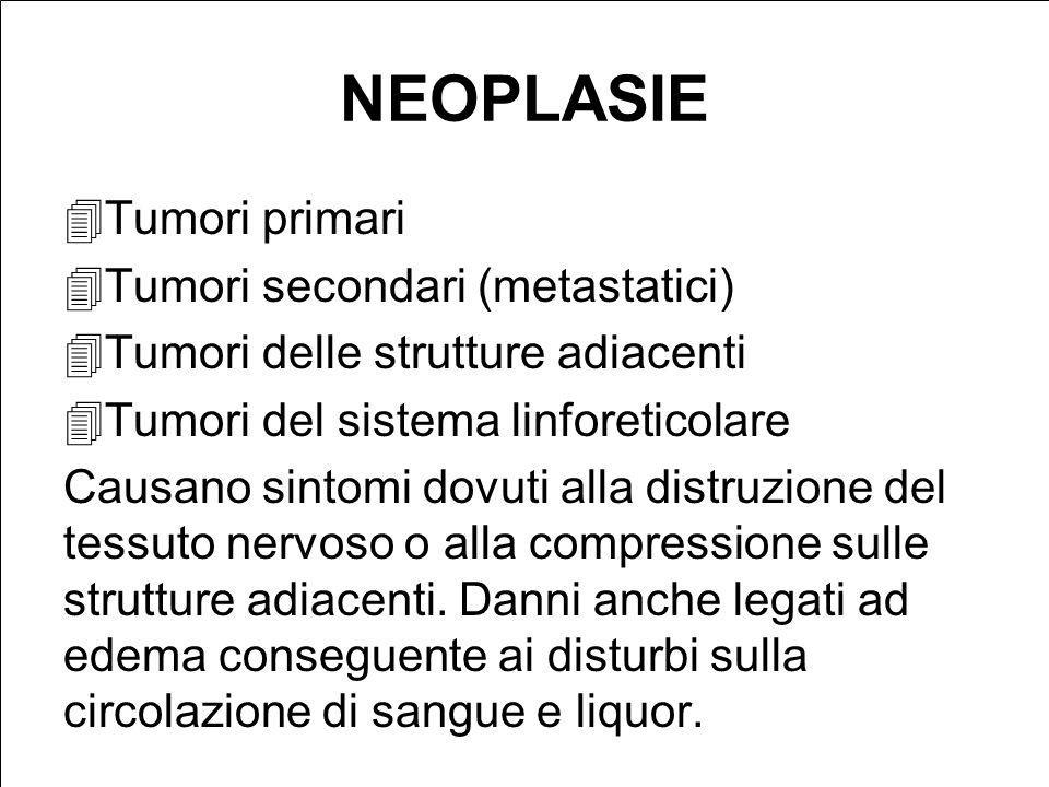 NEOPLASIE Tumori primari Tumori secondari (metastatici) Tumori delle strutture adiacenti Tumori del sistema linforeticolare Causano sintomi dovuti alla distruzione del tessuto nervoso o alla compressione sulle strutture adiacenti.