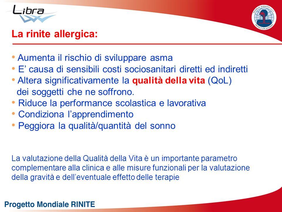 La rinite allergica: Aumenta il rischio di sviluppare asma E causa di sensibili costi sociosanitari diretti ed indiretti Altera significativamente la