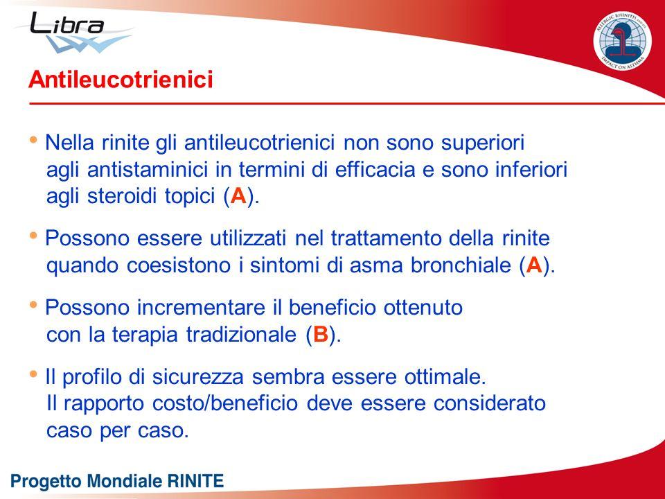 Nella rinite gli antileucotrienici non sono superiori agli antistaminici in termini di efficacia e sono inferiori agli steroidi topici (A). Possono es
