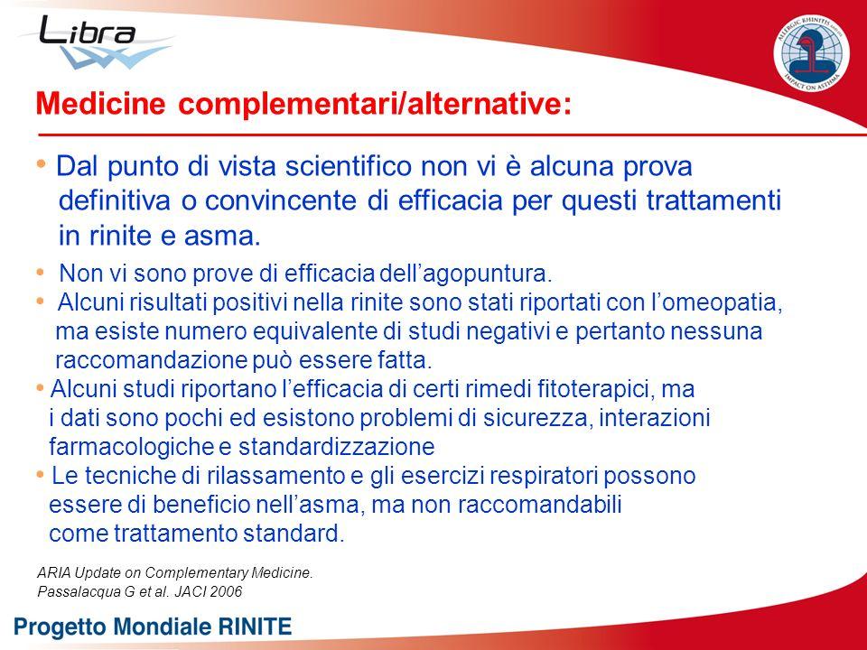 Medicine complementari/alternative: Dal punto di vista scientifico non vi è alcuna prova definitiva o convincente di efficacia per questi trattamenti