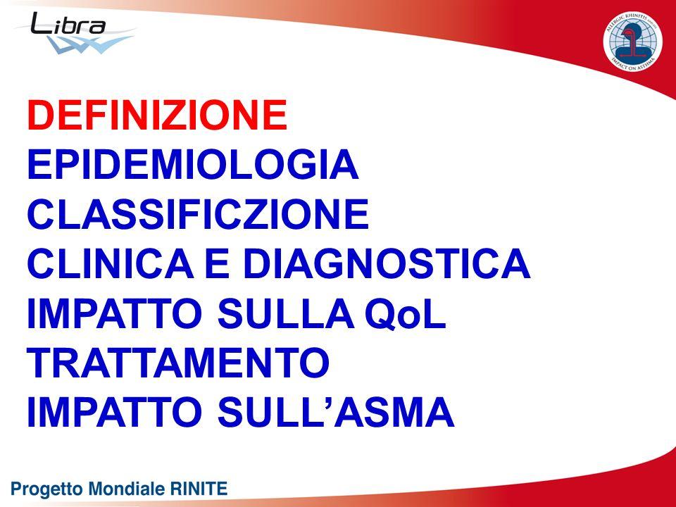DEFINIZIONE EPIDEMIOLOGIA CLASSIFICZIONE CLINICA E DIAGNOSTICA IMPATTO SULLA QoL TRATTAMENTO IMPATTO SULLASMA