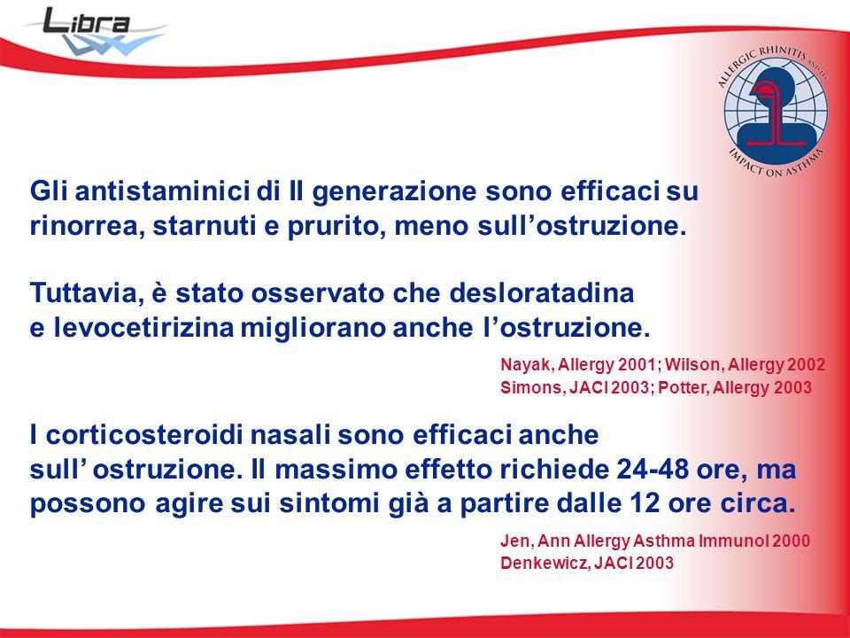 Gli antistaminici di II generazione sono efficaci su rinorrea, starnuti e prurito, meno sullostruzione.