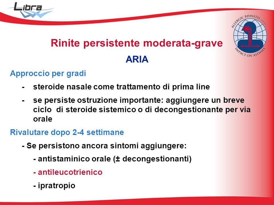 Rinite persistente moderata-grave ARIA Approccio per gradi - steroide nasale come trattamento di prima line - se persiste ostruzione importante: aggiu
