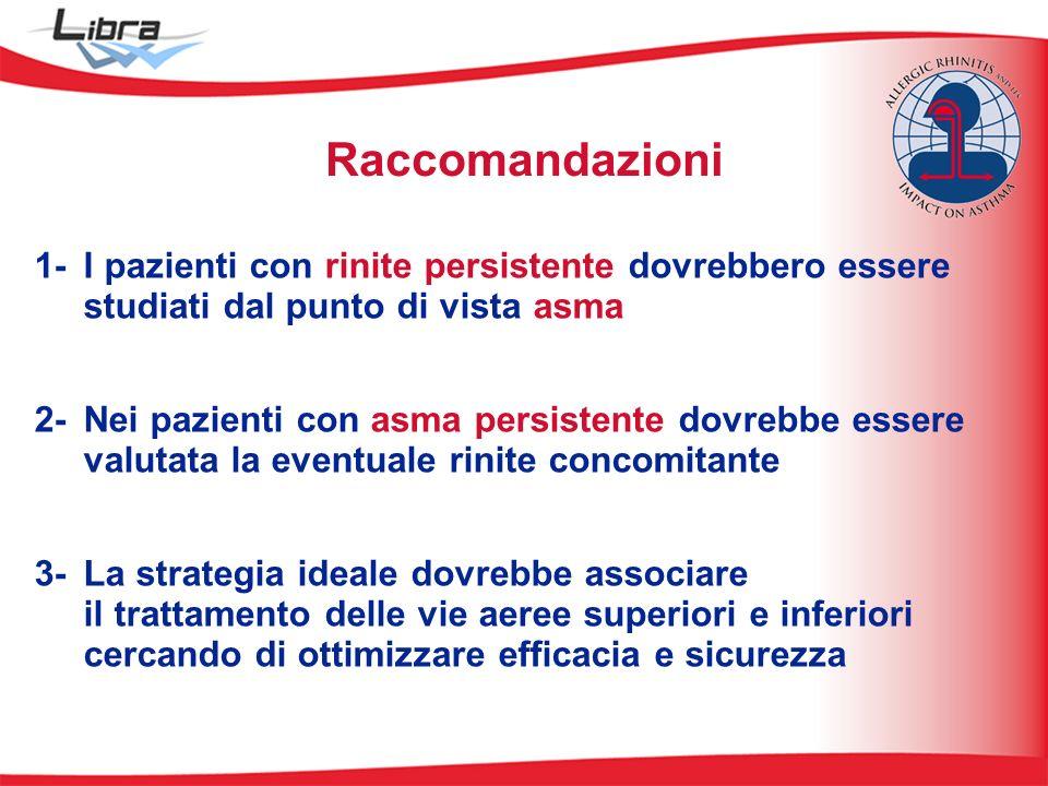 1- I pazienti con rinite persistente dovrebbero essere studiati dal punto di vista asma 2- Nei pazienti con asma persistente dovrebbe essere valutata