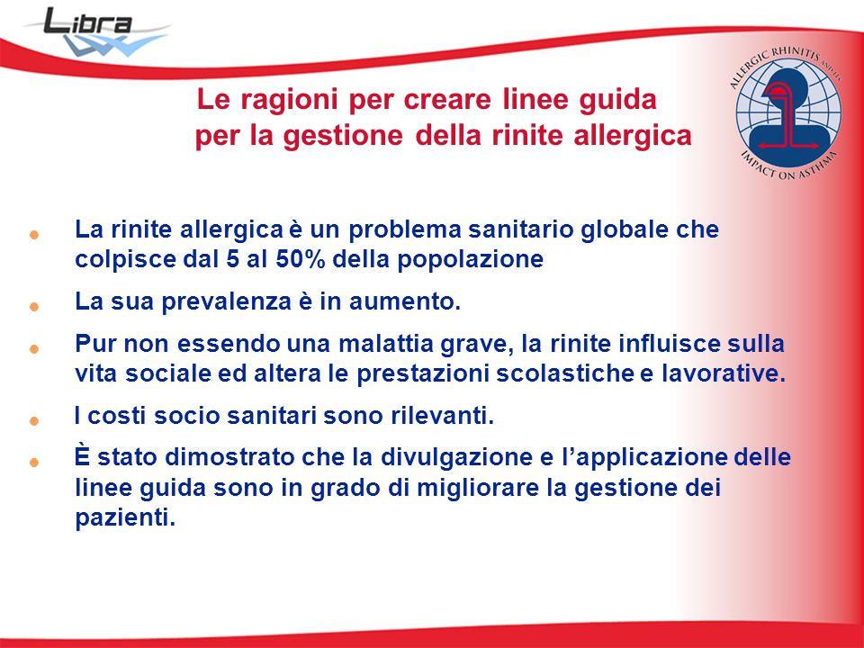 Le ragioni per creare linee guida per la gestione della rinite allergica La rinite allergica è un problema sanitario globale che colpisce dal 5 al 50% della popolazione La sua prevalenza è in aumento.