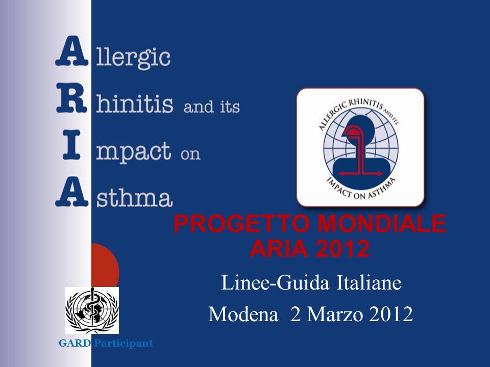 PROGETTO MONDIALE ARIA 2012 Linee-Guida Italiane Modena 2 Marzo 2012 GARD Participant
