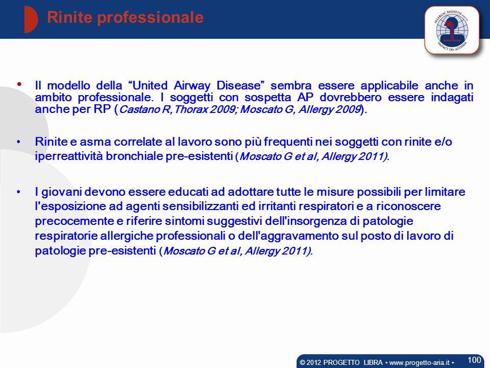 Il modello della United Airway Disease sembra essere applicabile anche in ambito professionale. I soggetti con sospetta AP dovrebbero essere indagati