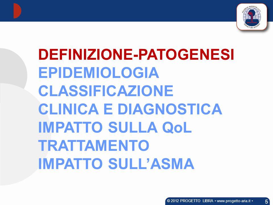 DEFINIZIONE-PATOGENESI EPIDEMIOLOGIA CLASSIFICAZIONE CLINICA E DIAGNOSTICA IMPATTO SULLA QoL TRATTAMENTO IMPATTO SULLASMA 5 © 2012 PROGETTO LIBRA www.
