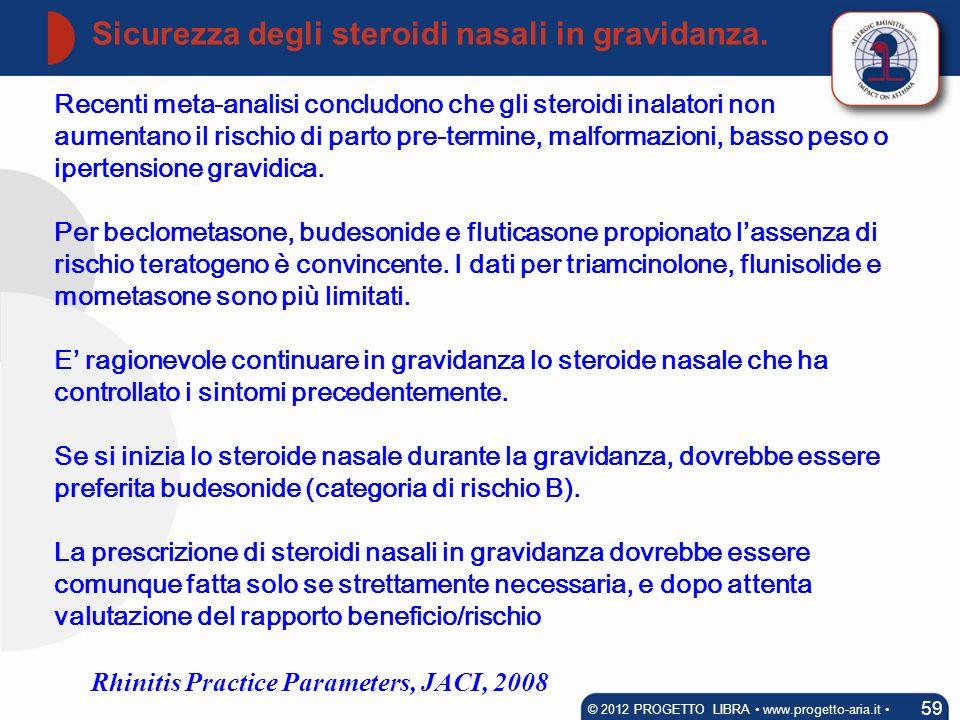 Recenti meta-analisi concludono che gli steroidi inalatori non aumentano il rischio di parto pre-termine, malformazioni, basso peso o ipertensione gra