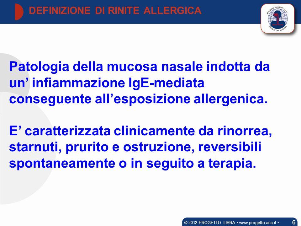 Patologia della mucosa nasale indotta da un infiammazione IgE-mediata conseguente allesposizione allergenica. E caratterizzata clinicamente da rinorre
