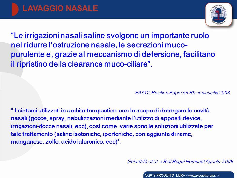EAACI Position Paper on Rhinosinusitis 2008 I sistemi utilizzati in ambito terapeutico con lo scopo di detergere le cavità nasali (gocce, spray, nebul