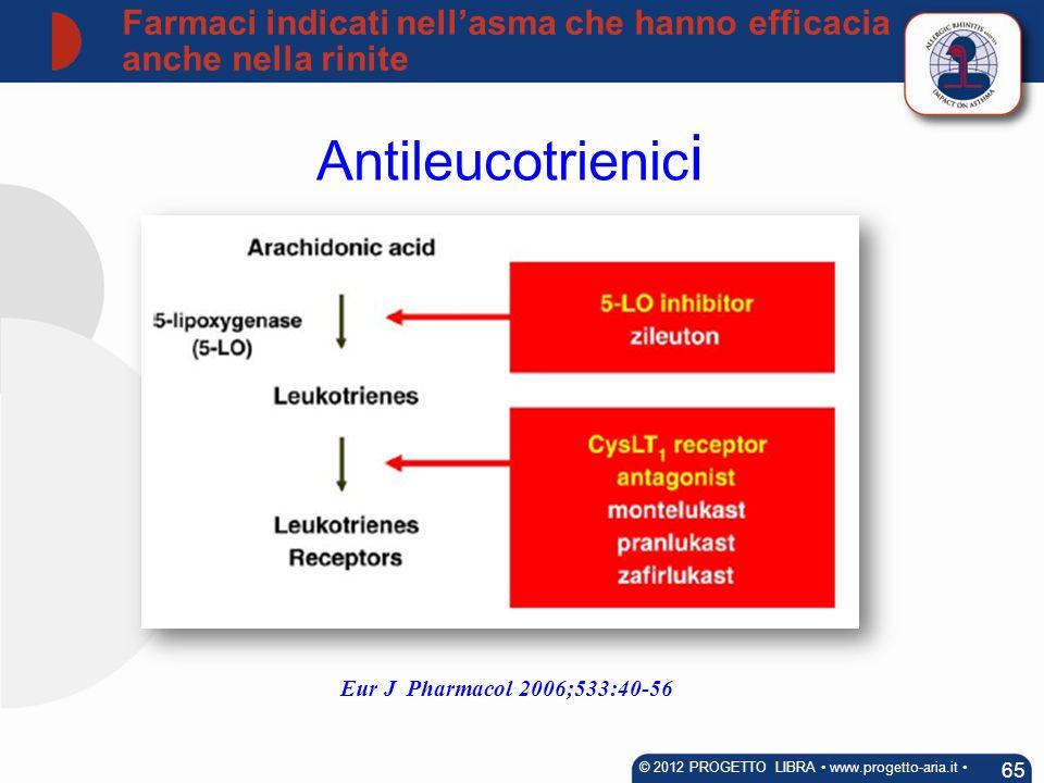 Antileucotrienic i 65 © 2012 PROGETTO LIBRA www.progetto-aria.it Farmaci indicati nellasma che hanno efficacia anche nella rinite Eur J Pharmacol 2006