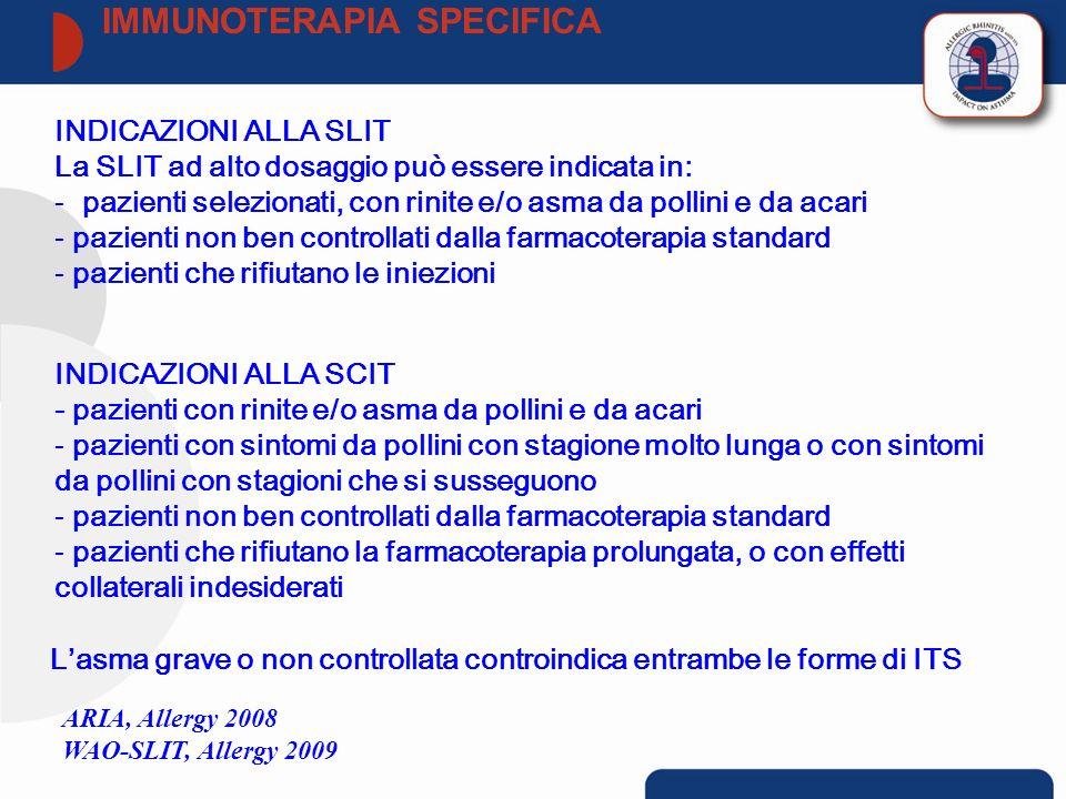 INDICAZIONI ALLA SLIT La SLIT ad alto dosaggio può essere indicata in: - pazienti selezionati, con rinite e/o asma da pollini e da acari - pazienti no
