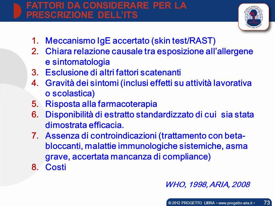 1.Meccanismo IgE accertato (skin test/RAST) 2.Chiara relazione causale tra esposizione allallergene e sintomatologia 3.Esclusione di altri fattori sca
