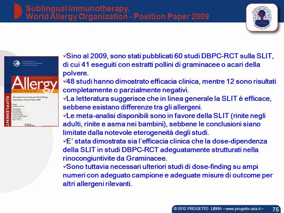 Sino al 2009, sono stati pubblicati 60 studi DBPC-RCT sulla SLIT, di cui 41 eseguiti con estratti pollini di graminacee o acari della polvere. 48 stud