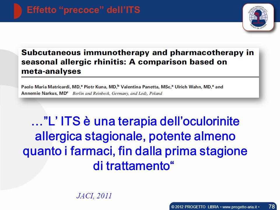 Effetto precoce dellITS 78 © 2012 PROGETTO LIBRA www.progetto-aria.it JACI, 2011 …L ITS è una terapia delloculorinite allergica stagionale, potente al