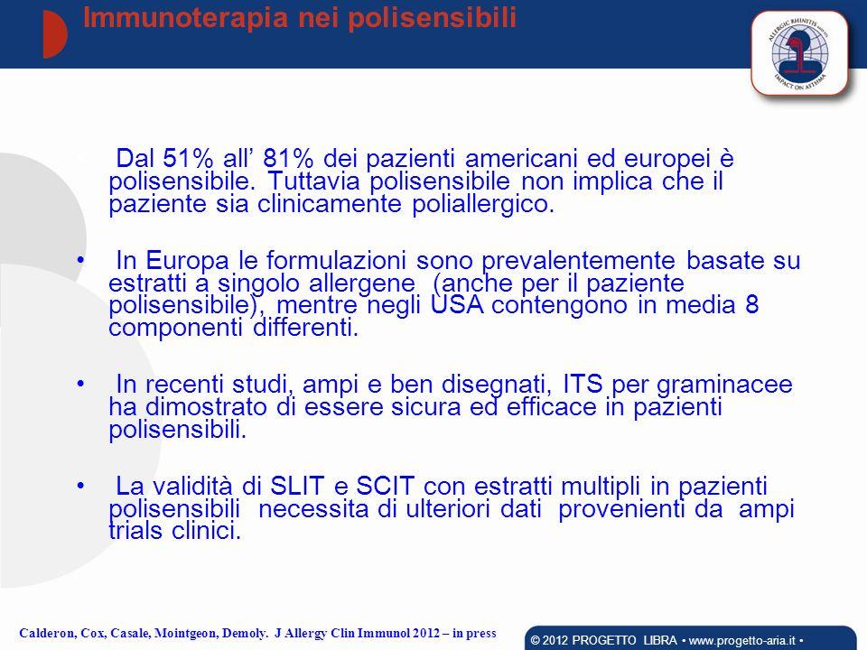 Dal 51% all 81% dei pazienti americani ed europei è polisensibile. Tuttavia polisensibile non implica che il paziente sia clinicamente poliallergico.