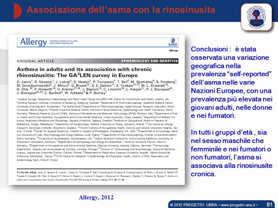 Associazione dellasma con la rinosinusite 91 © 2012 PROGETTO LIBRA www.progetto-aria.it Conclusioni : è stata osservata una variazione geografica nell