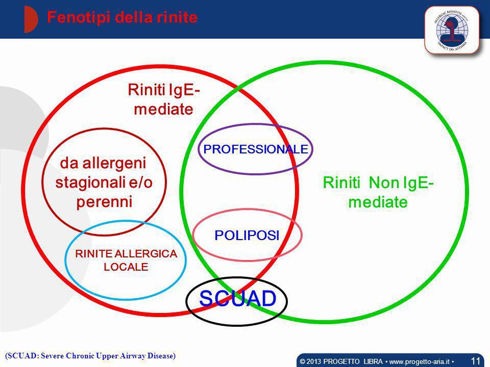 da allergeni stagionali e/o perenni RINITE ALLERGICA LOCALE Riniti Non IgE- mediate POLIPOSI PROFESSIONALE Riniti IgE- mediate Fenotipi della rinite 1