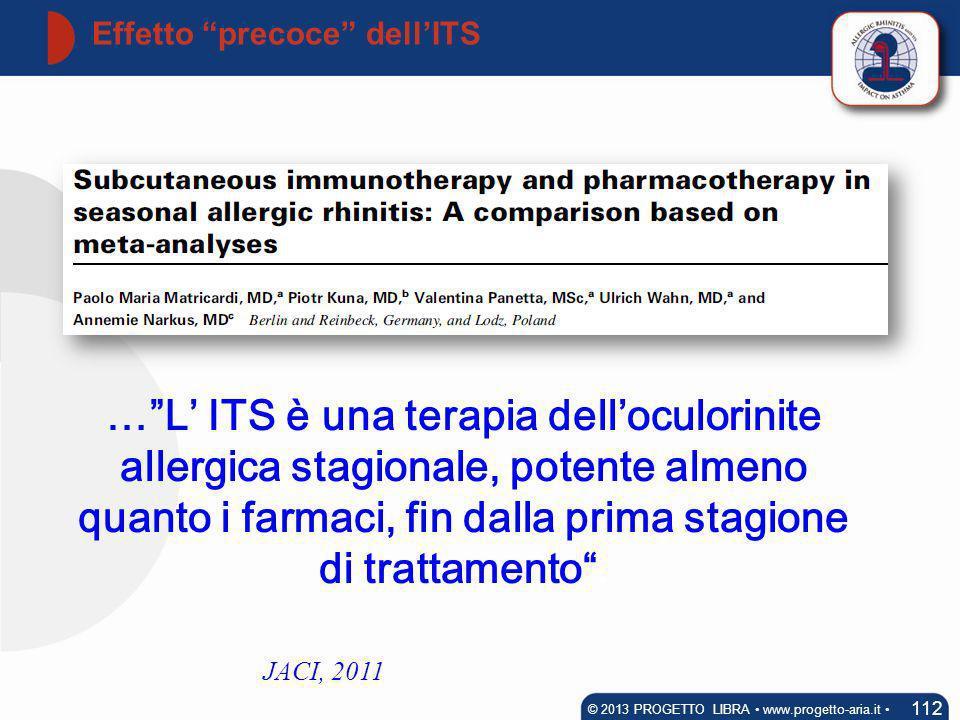 Effetto precoce dellITS 112 © 2013 PROGETTO LIBRA www.progetto-aria.it JACI, 2011 …L ITS è una terapia delloculorinite allergica stagionale, potente a