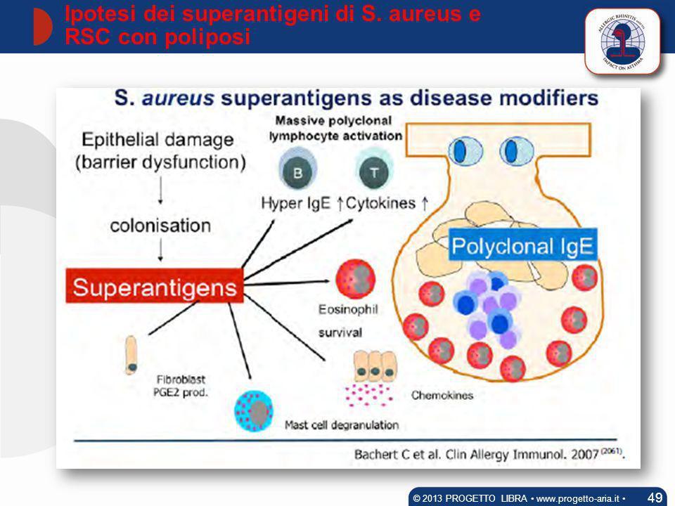 Ipotesi dei superantigeni di S. aureus e RSC con poliposi 49 © 2013 PROGETTO LIBRA www.progetto-aria.it