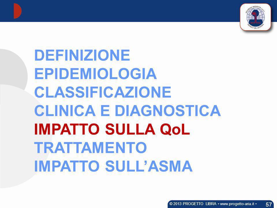 DEFINIZIONE EPIDEMIOLOGIA CLASSIFICAZIONE CLINICA E DIAGNOSTICA IMPATTO SULLA QoL TRATTAMENTO IMPATTO SULLASMA 57 © 2013 PROGETTO LIBRA www.progetto-a