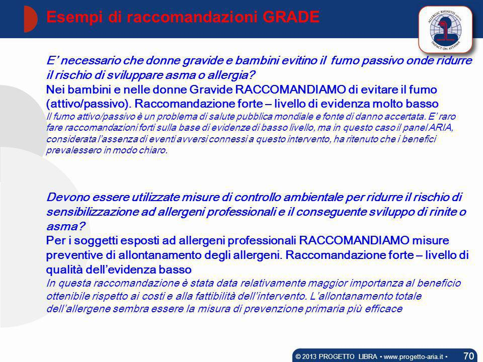 The GRADE methodology & ARIA Guideline 71 © 2011 PROGETTO LIBRA www.progetto-aria.it Taking into account both adults and children, a total of 59 recommendations were proposed: 11 for prevention, 31 for pharmacotherapy, 11 for allergen-specific immunotherapy, 5 for complementary and alternative medicine, 1 for a biologic agent (omalizumab).