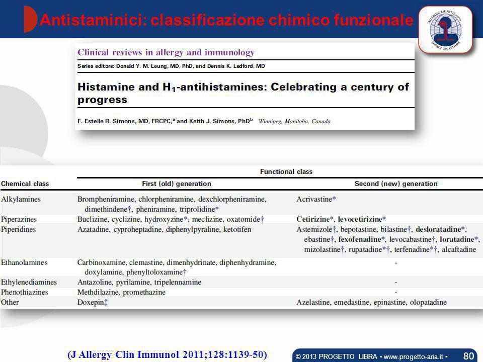Antistaminici: classificazione chimico funzionale 80 © 2013 PROGETTO LIBRA www.progetto-aria.it (J Allergy Clin Immunol 2011;128:1139-50)