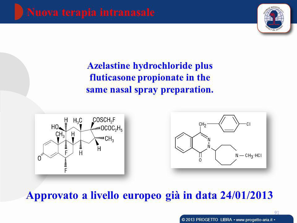 92 © 2013 PROGETTO LIBRA www.progetto-aria.it A novel intranasal therapy of azelastine with fluticasone for the treatment of allergic rhinitis.