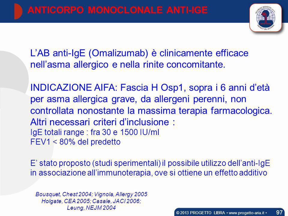 LAB anti-IgE (Omalizumab) è clinicamente efficace nellasma allergico e nella rinite concomitante. INDICAZIONE AIFA: Fascia H Osp1, sopra i 6 anni detà