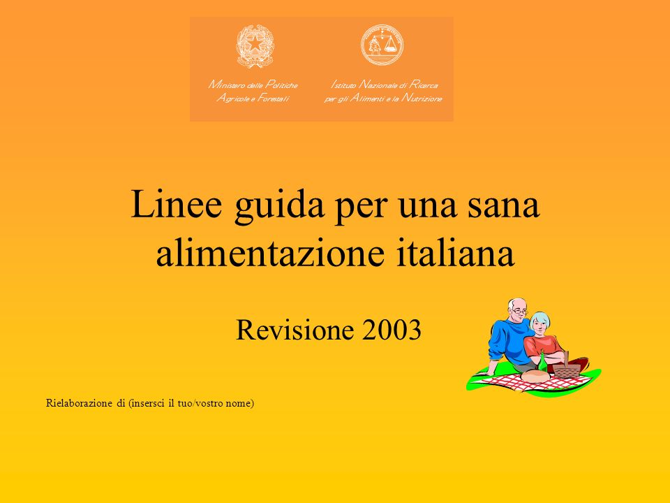 Linee guida per una sana alimentazione italiana Revisione 2003 Rielaborazione di (insersci il tuo/vostro nome)