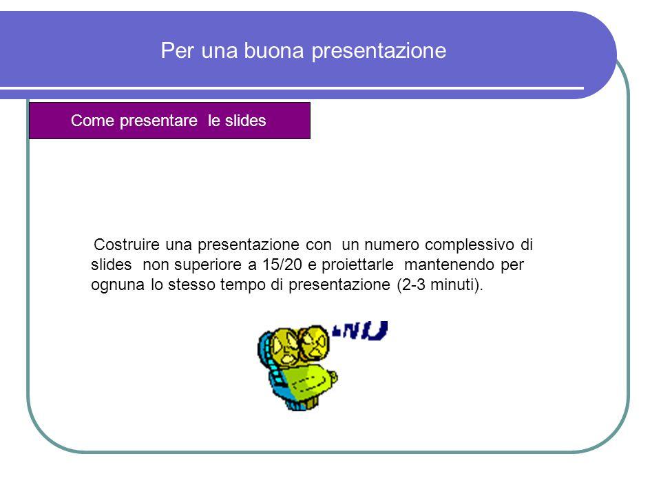 Costruire una presentazione con un numero complessivo di slides non superiore a 15/20 e proiettarle mantenendo per ognuna lo stesso tempo di presentaz