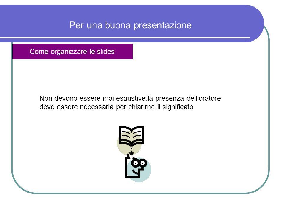 Per una buona presentazione Come organizzare le slides Non devono essere mai esaustive:la presenza delloratore deve essere necessaria per chiarirne il