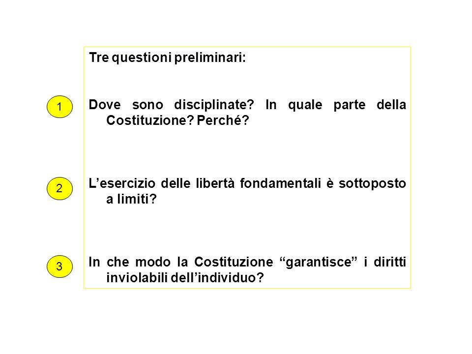 Tre questioni preliminari: Dove sono disciplinate? In quale parte della Costituzione? Perché? Lesercizio delle libertà fondamentali è sottoposto a lim