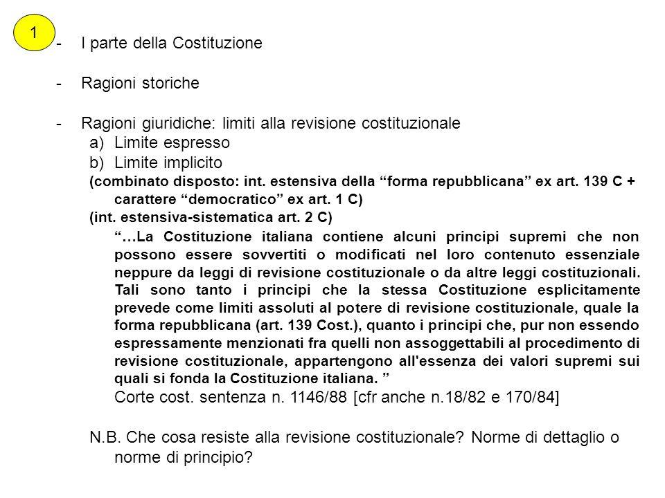 -I parte della Costituzione -Ragioni storiche -Ragioni giuridiche: limiti alla revisione costituzionale a)Limite espresso b)Limite implicito (combinat