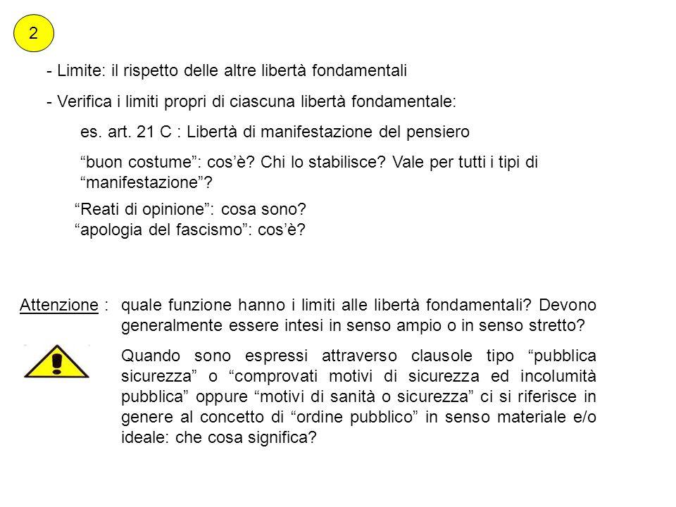 2 - Limite: il rispetto delle altre libertà fondamentali - Verifica i limiti propri di ciascuna libertà fondamentale: es. art. 21 C : Libertà di manif