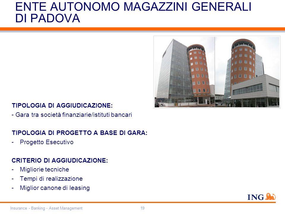 Do not put content on the brand signature area Orange RGB= 255,102,000 Light blue RGB= 180,195,225 Dark blue RGB= 000,000,102 Grey RGB= 150,150,150 ING colour balance Guideline www.ing-presentations.intranet Insurance - Banking - Asset Management19 ENTE AUTONOMO MAGAZZINI GENERALI DI PADOVA TIPOLOGIA DI AGGIUDICAZIONE: - Gara tra società finanziarie/istituti bancari TIPOLOGIA DI PROGETTO A BASE DI GARA: -Progetto Esecutivo CRITERIO DI AGGIUDICAZIONE: -Migliorie tecniche -Tempi di realizzazione -Miglior canone di leasing