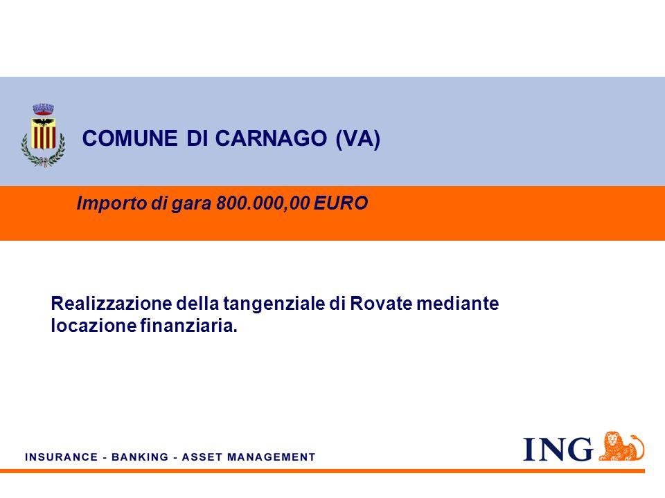 Do not put content on the brand signature area COMUNE DI CARNAGO (VA) Importo di gara 800.000,00 EURO Realizzazione della tangenziale di Rovate mediante locazione finanziaria.