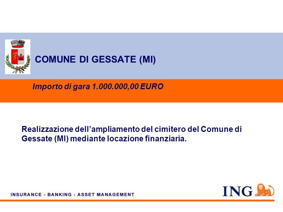 Do not put content on the brand signature area COMUNE DI GESSATE (MI) Importo di gara 1.000.000,00 EURO Realizzazione dellampliamento del cimitero del Comune di Gessate (MI) mediante locazione finanziaria.