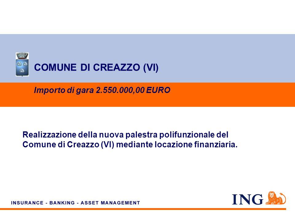 Do not put content on the brand signature area COMUNE DI CREAZZO (VI) Importo di gara 2.550.000,00 EURO Realizzazione della nuova palestra polifunzionale del Comune di Creazzo (VI) mediante locazione finanziaria.
