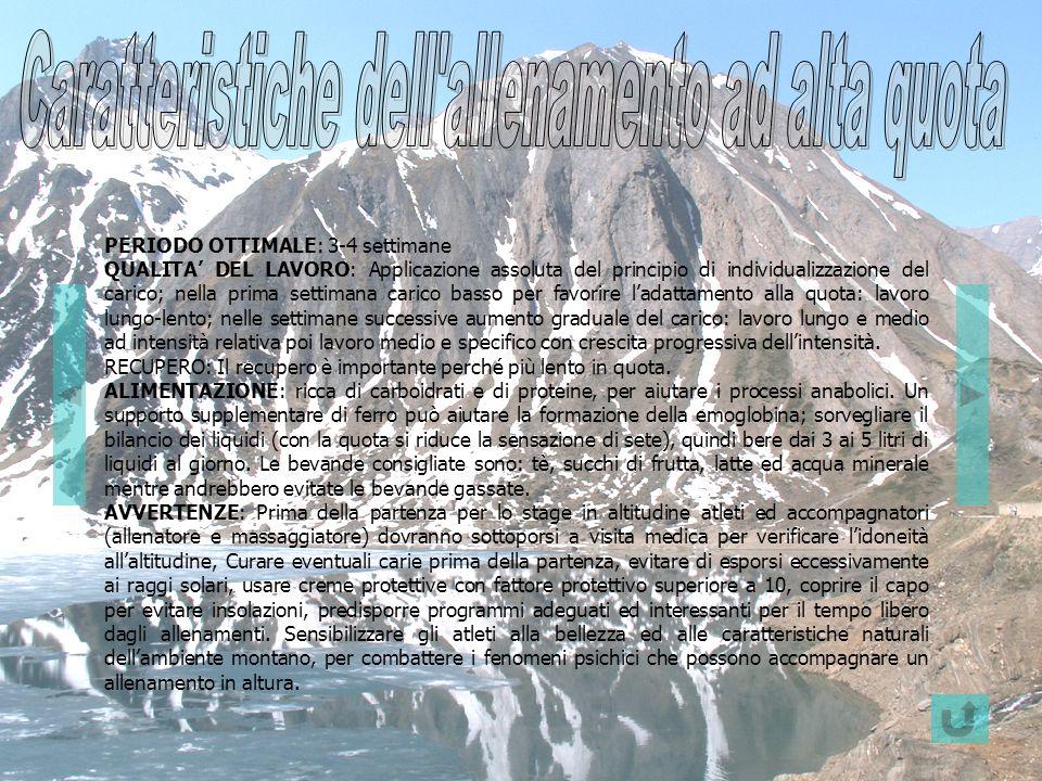 PERIODO OTTIMALE: 3-4 settimane QUALITA DEL LAVORO: Applicazione assoluta del principio di individualizzazione del carico; nella prima settimana caric