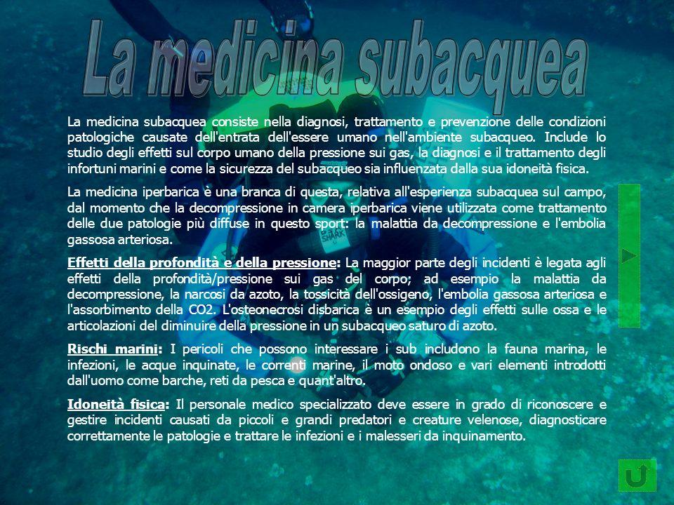 La medicina subacquea consiste nella diagnosi, trattamento e prevenzione delle condizioni patologiche causate dell'entrata dell'essere umano nell'ambi