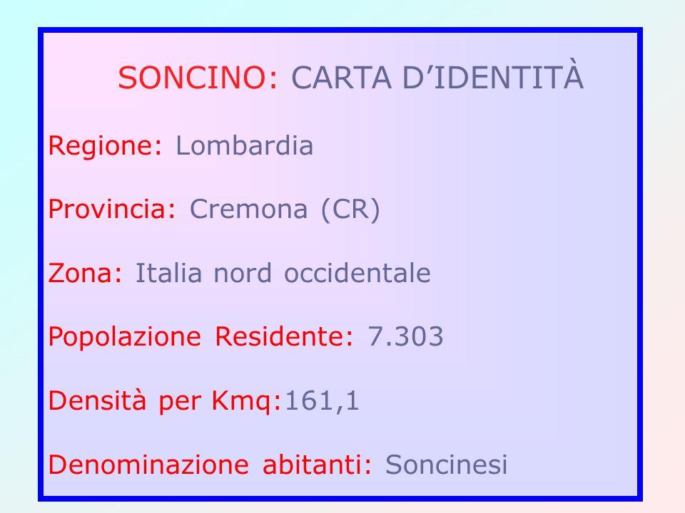 SONCINO: CARTA DIDENTITÀ Regione: Lombardia Provincia: Cremona (CR) Zona: Italia nord occidentale Popolazione Residente: 7.303 Densità per Kmq:161,1 D