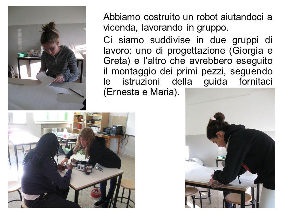 Abbiamo costruito un robot aiutandoci a vicenda, lavorando in gruppo. Ci siamo suddivise in due gruppi di lavoro: uno di progettazione (Giorgia e Gret