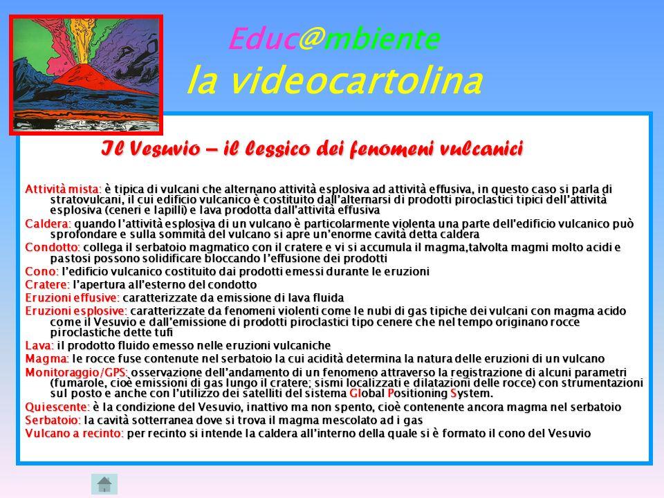 Educ@mbiente la videocartolina Il Vesuvio – il lessico dei fenomeni vulcanici Il Vesuvio – il lessico dei fenomeni vulcanici Attività mista: è tipica