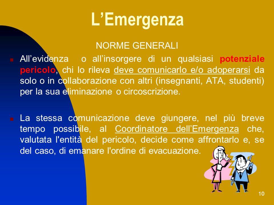 10 LEmergenza NORME GENERALI Allevidenza o allinsorgere di un qualsiasi potenziale pericolo, chi lo rileva deve comunicarlo e/o adoperarsi da solo o i