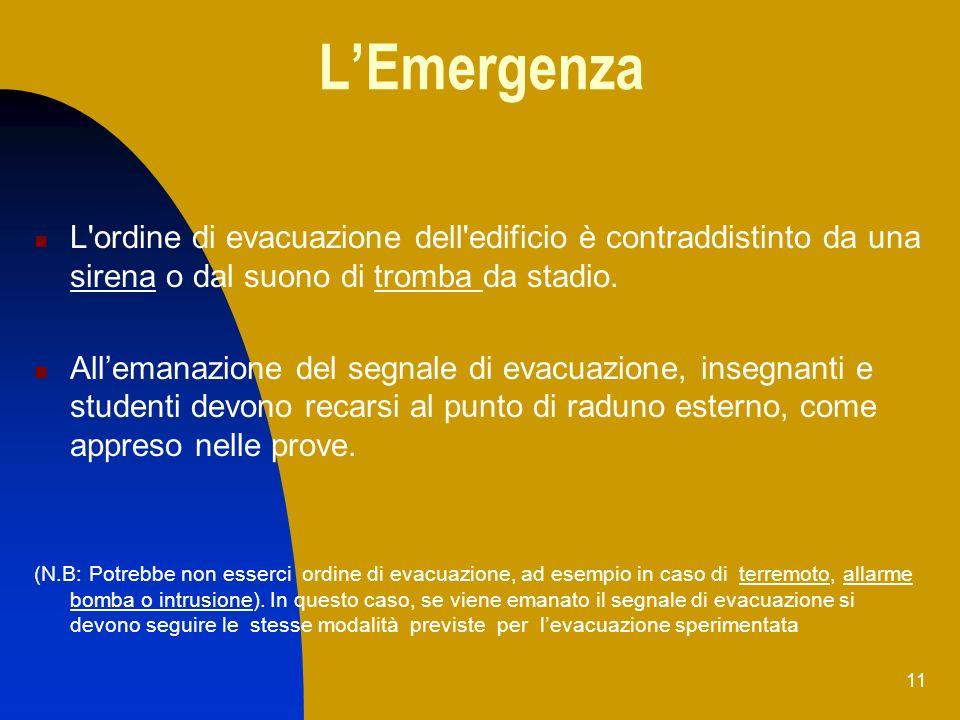 11 LEmergenza L'ordine di evacuazione dell'edificio è contraddistinto da una sirena o dal suono di tromba da stadio. Allemanazione del segnale di evac