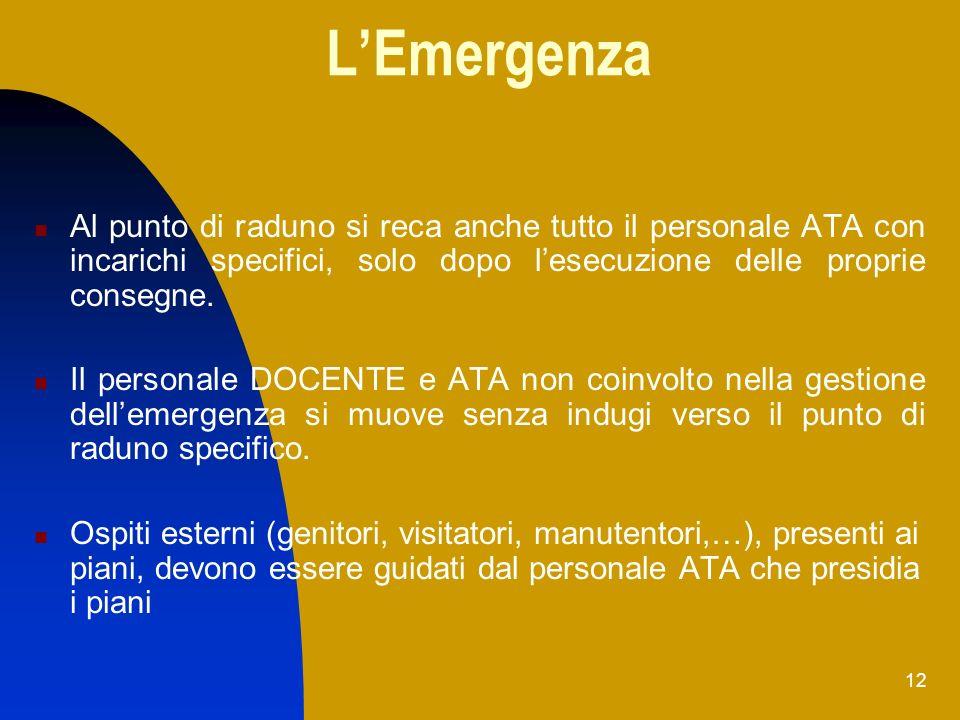 12 LEmergenza Al punto di raduno si reca anche tutto il personale ATA con incarichi specifici, solo dopo lesecuzione delle proprie consegne. Il person